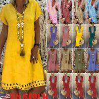 US Women Cotton Linen Maxi Dress Short Sleeve Casual Boho Kaftan Tunic Plus Size