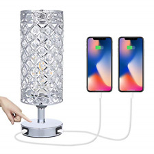 Tomshine Crystal Bedside Table Lamp Touch Control 3-Way Dimmable with Dual USB