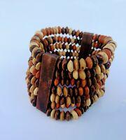 African Print Pattern Wood Bangle Tribal Bracelet Jewellery  2pc