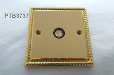 Georgian Brass Plate 1 Gang Coaxial Outlet With Roped Edge by GET GEP7510BGB
