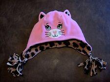 Girl's Wonderkids Pink & Leopard Print Cat Tobaggon Size Osfm Euc Cute & Warm