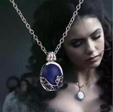 The Vampire Diaries Elena Gilbert Blue Stone Elegant Locket Pendant Necklace UK