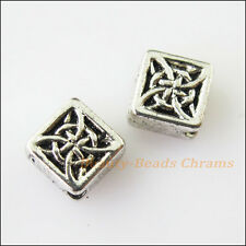 8Pcs Antiqued Silver Tone Chinese Knot Square Spacer Beads Charms 6mm