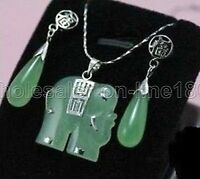 New Set Green Jade Pendant Silver Earring Hook Teardrop Dangle Earrings AAA+