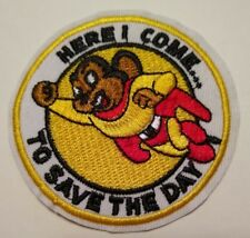 "Mighty Mouse~Embroidered Patch~2 7/8"" Round~Cartoon Superhero~Iron or Sew"