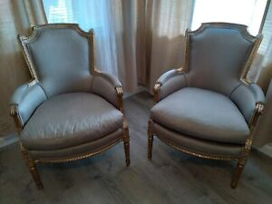 Louis XVI Upholstered Bergere Arm Chairs - a Pair
