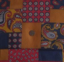 """Vintage Sheer Cotton Fabric Paisley Quilt Block Print Red Blue Gold 45""""W 3 Yds"""