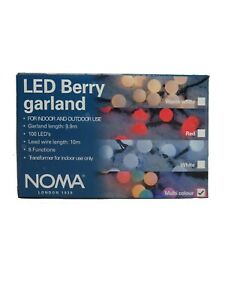 Noma 100 Multicoloured Berry Garland LED String Lights For Indoor & Outdoor Use