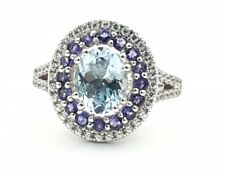 Damen Aquamarin Ring 14 Karat 585 Weißgold 57 - 18,0 mm 2,78 ct.
