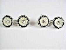 Art Deco Cufflinks White Gold 585 With Brilliant, 0.3oz