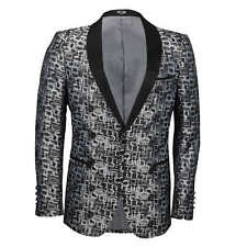 Mens Tuxedo Suit Jacket Wedding Dinner Party Slim Fit Printed Blazer Grey Blue