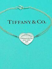 "Tiffany & Co Return To Tiffany Sterling Silver Heart Charm Bracelet 6.5"" Genuine"