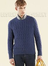 GUCCI Mens XXL chunky Blue CABLE knit Wool & ALPACA blend sweater NWT Auth $825!