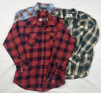 Lot of 3 Pearl Snap Button Western Shirts Mens Size L Wrangler Panhandle Border