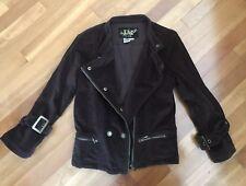 Live A Little Women's Biker Style Short Brown Zip Up  Stretchy Jacket Size S