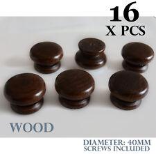 16 x wooden kitchen door knobs walnut handles cabinet cupboard 40 mm diameter