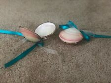 2 Ringbearer Wedding Seashells with White & Teal Ribbon, Used Once