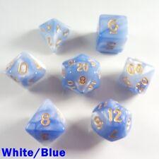 Elemental Poly 7 Dados Rpg Conjunto Blanco Azul dos tonos DND D&D 5e Pathfinder HD
