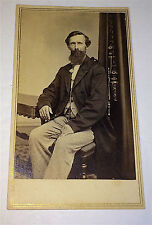 Antique Civil War Era Dapper Bearded Gentleman! Watch Chain! Stamps CT CDV Photo