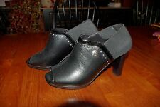 NWOB Brighton Vixon Black Leather & Stretch w/ Silver Studs Booties Shoes 7 M