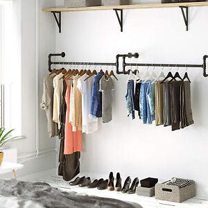 Garderobe Kleiderstange 111cm- schwarz Metall für Kleiderbügel Industrial Design