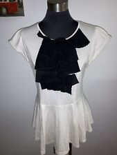NEXT cream BLACK RUFFLE FRONT fit & flare Top Size 12
