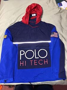 Polo Ralph Lauren Hi Tech Blue Jacket Pullover Anorak 3M Flag Reflective Raekwon