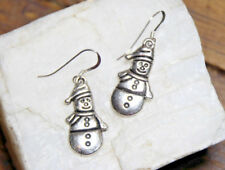 Snowman Earrings Christmas Drop 925 Sterling Silver earrings Pewter charms Xmas