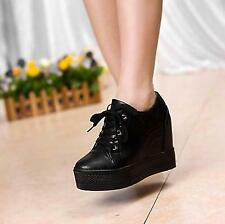 Womens Ankle White Lace Up Hidden Wedge Heel Sneakers Trainer Casual Shoes SKGB
