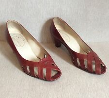 CALZADOS LUCCHI Burgundy Red Pumps Size 7 Peep Toe Women Shoes Casual Career