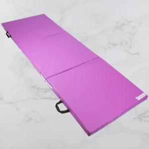 Tri Folding Yoga Exercise Mat Pilates Gym Crash Workout Home Training Purple