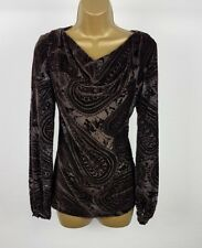 Next Signature Womens Brown Blouse Top UK Size 8 Mesh Velvet Casual Evening New