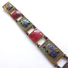 Art Deco Brass Enamel Flower Panel Chain Link Bracelet