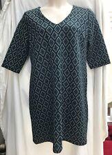 Ladies size 18 black green diamond pattern 3/4 sleeve dress Dorothy Perkins NEW