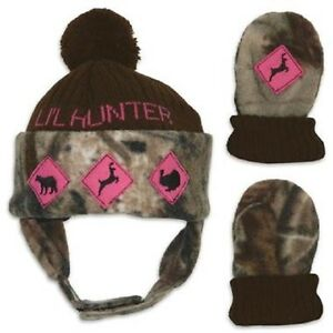 Lil Little Hunter Mossy Oak Camo Pink Hat & Mittens, Toddler Baby Girl's