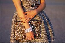ZARA METALLIC tweed TULIP DRESS Medium M Silver Black gold formal mini dress
