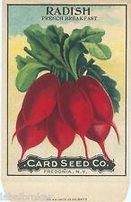 OLD VINTAGE SEED PACKET FLOWERS C1910 GENERAL STORE GARDEN RADISH RARE FOLK ART