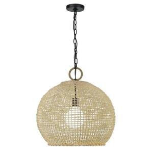 Golden Lighting Reed 1-Light Matte Black Globe Pendant with Bamboo Shade