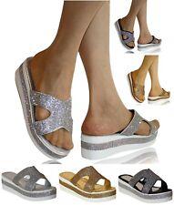 Mujer Fiesta Nupcial Diamante Medio Bajo Tacón Cuña Zuecos Deslizan Sandalias