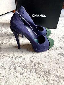 Chanel Two Tone Cap Toe Glitter Pumps Heels Green Blue 39