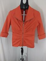 Joseph Ribkoff Womans Orange Full Zip Pleated Orange Jacket SZ 6