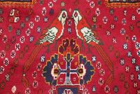 One-of-a-Kind Vintage Geometric Tribal Kashkoli Hand-Knotted Red Area Rug 6'x9'