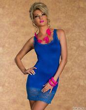 TOP Minikleid Kleid Longtop mit Spitzen-Borten Royalblau Gr. 34/36/38