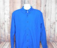 Chaps Easy Care Men's Blue Striped Long Sleeve Button Front Shirt Size Large L