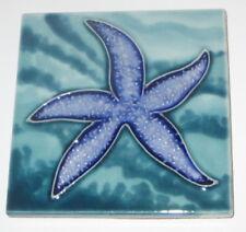 "Blue Sea Star Art Tile 4""x4"" Decorative Ceramic New Starfish SD-194"