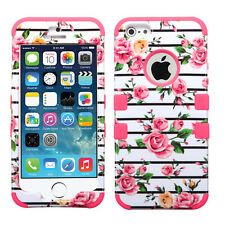 For Apple iPhone 5 IMPACT TUFF HYBRID Case Skin Snap on Phone Cover Fresh Roses
