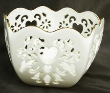 Lenox Eternal Hearts 5 sided bowl pierced design made Usa cream color