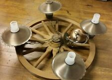 vTg WOOD WAGON WHEEL HANGING LIGHT CHANDELIER 4 FROSTED GLOBES COPPER SHADES