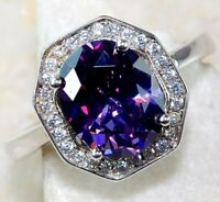 4CT Amethyst & White Topaz 925 Solid Sterling Silver Ring Jewelry Sz 7, M2