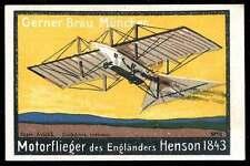 Germany Poster Stamp - Adv. Gerner-Bräu Beer - Aviatik - Hensen's Steam Carriage